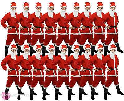 24 X SANTA SUIT 5 PIECE COSTUME CHRISTMAS GROUP FANCY DRESS XMAS JOB LOT BULK - Christmas Group Costumes