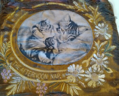 Antique Victorian Pillow Case  wonderful embroidery Cats  The  afternoon nap