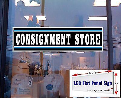 Consignment Store Led 48x12 Illuminated Window Sign Flat Panel Design