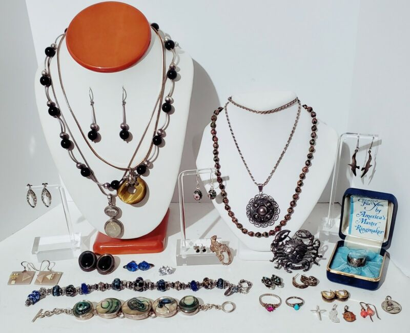 Vintage Estate Sterling Silver Jewelry Lot 290 grams. Necklaces, Earrings, Etc