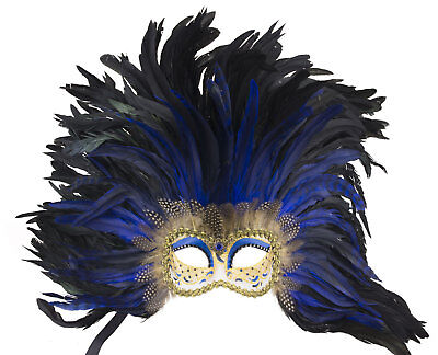 Mask Venice Colombine Face Feathers rooster black-blue 1023
