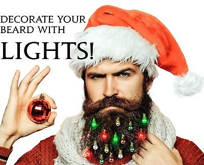 Beardaments Lights- Light Up Beard Ornaments, 16pc Christmas Facial Hair Baubles (Hair Baubles)