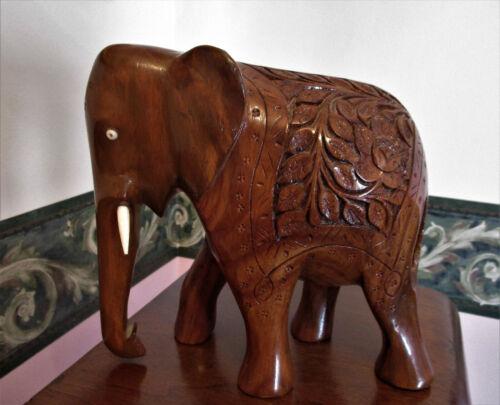 Vintage Large Wood Elephant Figurine Statue Carved Design - Beautiful!