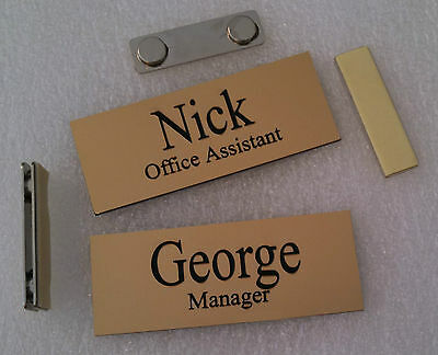 "Custom Name Tags Gold -Black letters  w/ magnetic badge attachment 1.25"" x 3.25"""