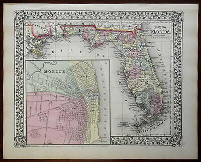 Florida County Map Tampa Jacksonville Miami Mobile Alabama 1867 Mitchell map