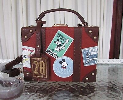 Disney Loungefly Mickey Mouse 1928 Train Travel Trunk Crossbody Bag Purse NWT