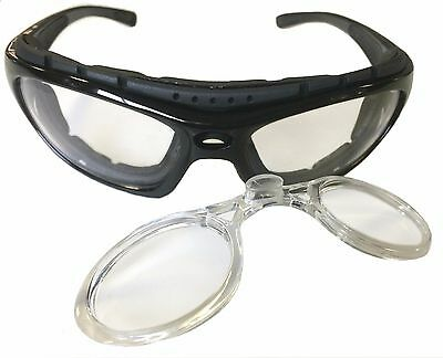 - Motorcycle Riding Glasses Padded Black Clear Lens Removable Stem RX Insert