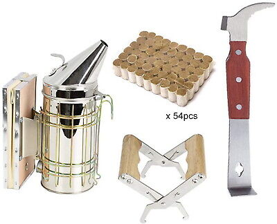 Bee Hive Smoker And Pellets Beekeeping Supplies Frame Holder Starter Tool Kit