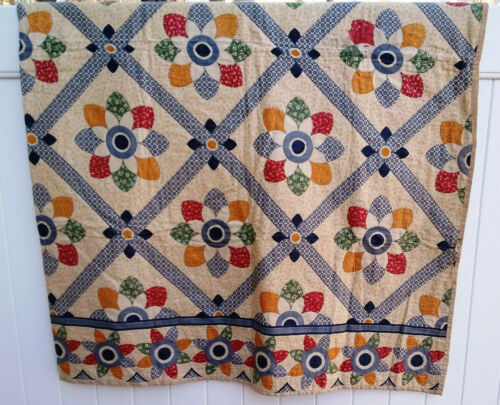 Fabulous Antique Hand-Stitched Quilt ~ Colorful Star Flower Pattern 86 x 136  MG