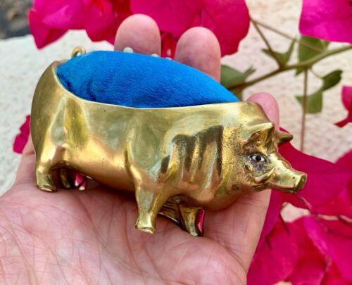 Victorian Antique Solid Brass & Silk Figural Boar Pig Pin Cushion ~ Glass Eyes