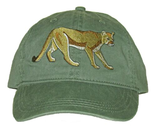 Mountain Lion  Embroidered Cotton Cap NEW Puma Cougar Panther