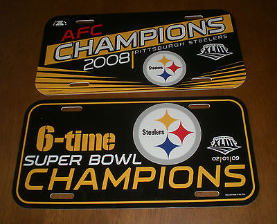 2008 STEELERS AFC CHAMPIONS & SUPER BOWL XLIII 6 TIME CHAMPS LICENSE PLATES  NEW