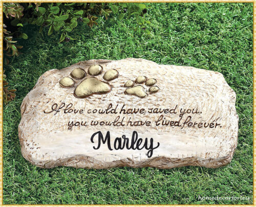 PERSONALIZED Dog Cat Paw Print Pet Memorial Cemetery Grave Marker Stepping Stone