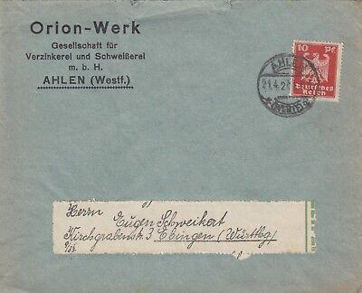 AHLEN, Briefumschlag 1924, Orion-Werk Gesellschaft für Verzinkerei und Schweißer