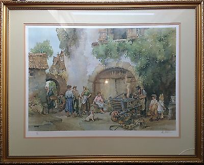 LARGE ERIC (E R) STURGEON LIMITED EDITION PENCIL SIGNED PRINT - COURTYARD SCENE