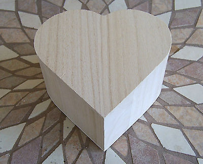 1 Unfinished Wood Craft  HEART Trinket Storage Box With Hinged Top