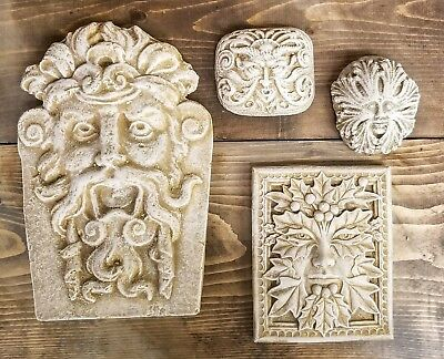 Lot of 4 Green Man Leaf Face Home Garden Wall Plaque Decor Clearance Lot 9