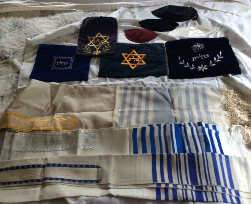Vintage Lot of Tallit / Tallis Prayer Shawls, Velvet Bags & Yamulkas - Estate
