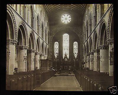 Glass Magic Lantern Slide WORKSOP PRIORY CHURCH INTERIOR C1910 ENGLAND