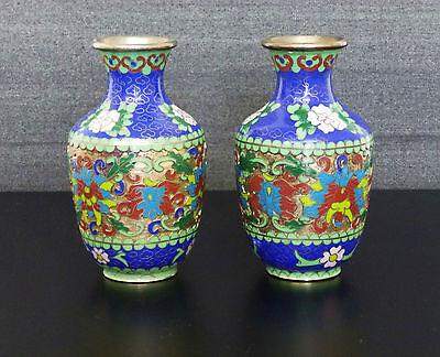 2 x China Email Cloissone Vasen chinese enamel emaille vase