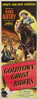 Goldtown Ghost Riders (1953) Gene Autry Western Cult Movie Poster 14x36 Inches