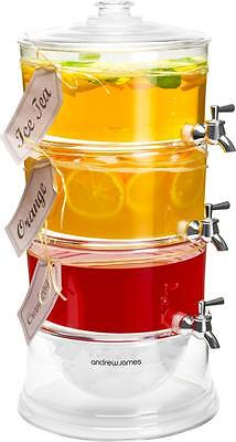 Andrew James 3 Tier Drinks Dispenser Cocktail Punch Bowl With Ice Chamber 10.5L