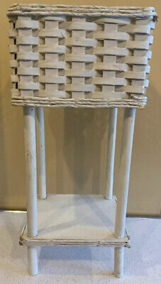 White Wicker Plant Stand Two-Tiered Vintage Fern Flower Basket Two Tier Flower Planter