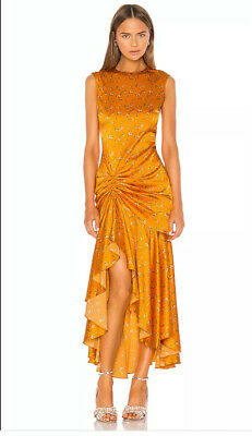 Caroline Constas Lonnie Tangerine Floral Medium Sleeveless Dress Reg $800 NWT
