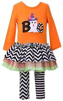 Bonnie Jean Girls Orange Ghost Boo Halloween Fall Tutu Dress Legging 3-6m NWT (Bonnie Jean Halloween Ghost Tutu Dress)