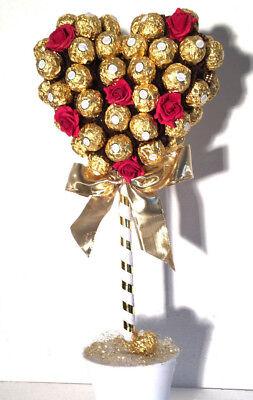 Rocher Pralinen Herz Baum mit 60Stück + 10 rote Rosen Geschenk Geburtstag (Herzstück Baum)