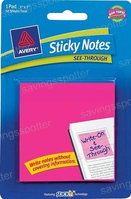 Avery Sticky Notes See Through 3 X 3 Neon Magenta Pink 50 Pk