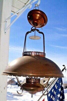 RARITY ODDITY Antique 1910s - 20s Era Copper Hanging Electric Light Lamp GWTW](20s Era)