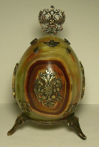 Egg Onyx Imperial Russia Double Headed Eagle Nikolay II Brass