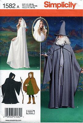 LOTR Elf Cloak Cape Wizard GANDALF GALADRIEL Hobbit SEW PATTERN Simplicity 1582 - Gandalf Cloak Pattern