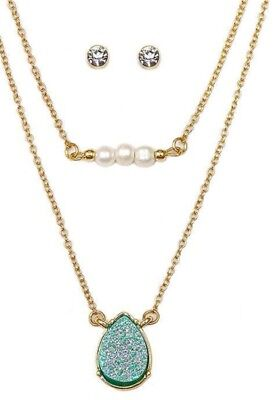 Iridescent Set - Iridescent Green Teardrop Druzy and Pearl Double Layer Necklace Earrings Set