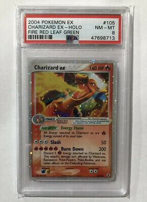 PSA 8 NM-MT Fire Red Leaf Green Charizard EX 105/112 Pokémon