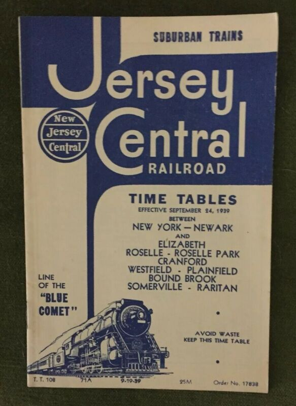 New Jersey Central 9/19/39 Public Timetable-Suburban Trains