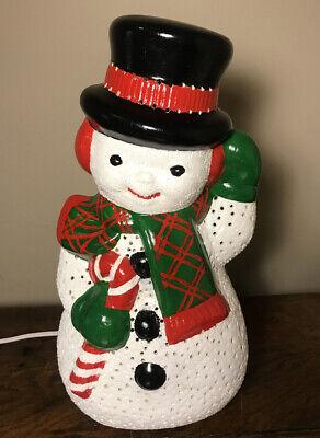 "Ceramic Snowman Lights Up 14"" Glitter Finish- Night Light"