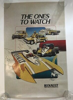 The Ones To Watch Poster Renault Racing Jack Pennington Auto Boat Indy 1980s Vtg