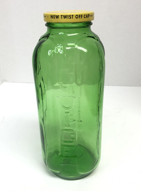 Vintage Green Glass Water/Juice Refrig Bottle With Lid CLEAN!