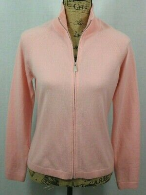 Malo 100% Pure Cashmere Zip Up Cardigan Women's 44 Soft Pink Mock Neck Sweater