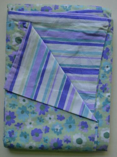 Pottery Barn Kids PBK Blue Green Lavender Floral Stripe Toddler Crib Duvet Cover