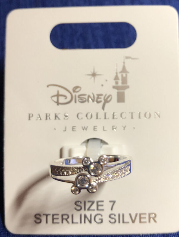 Disney Parks Mickey Double Icon Swarovski Crystals Sterling Silver Ring Size 7