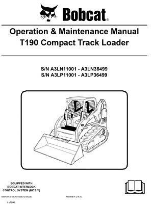 New Bobcat T190 Compact Track Loader Operation Maintenance Manual 6987017