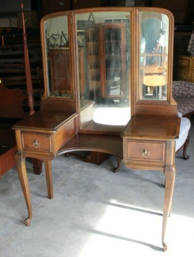 1930s Antique Walnut Vanity and Trifold Mirror - Jamestown, New York