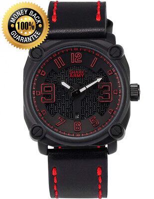 SHARK ARMY Men's Military Quartz Date Square Case Black Leather Wrist Watch...