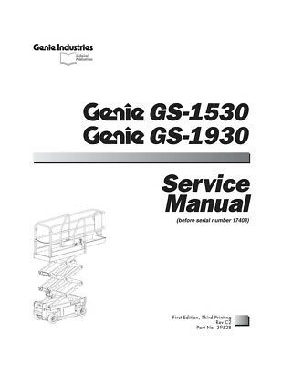 New Terex Genie Gs-1530 And Gs1930 Scissor Lifts Service Manual