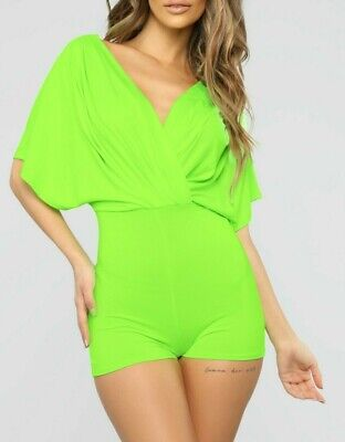 V Neck Pleated Dolmain Sleeve Cool Comfy Green Neon Lime Casual Romper Medium M  Medium Cool Green