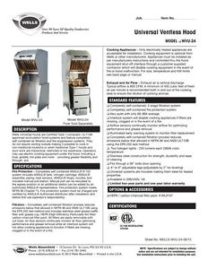Wells Ventless Hood (with fire suppression and electric fryer