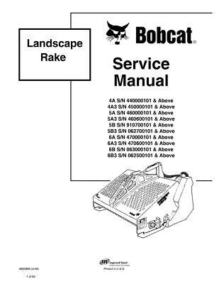 New Bobcat Landscape Rake Repair Service Manual 6900890 Free Shipping